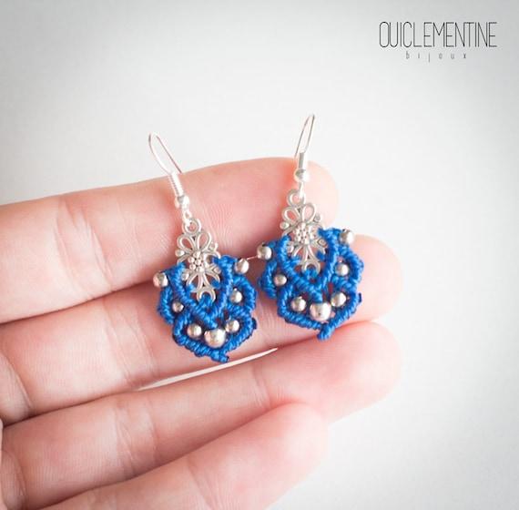 Small boho micro macrame earrings