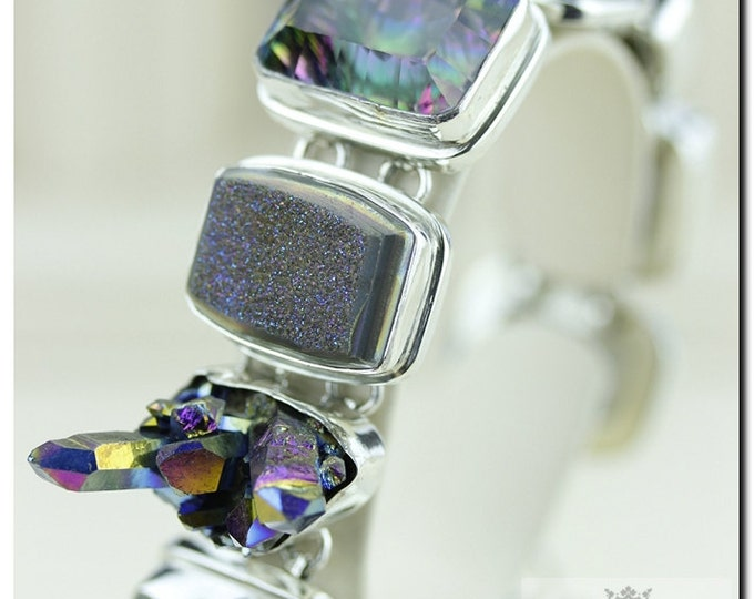 Made in ITALY!! Truly Unique Titanium Drusy Druzy Cluster Large Mystic Topaz 925 SOLID Sterling Silver Bracelet & FREE Worldwide Shipping