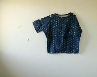 ESSIE BLOUSE/ polka dots / metallic / women / top / denim / over size tee / cotton / made in australia / pamelatang