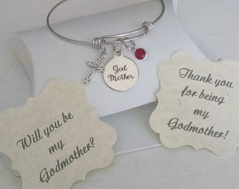 Godmother Bracelet, Godmother Gift, Will You Be My Godmother, Thank You For Godmother, SALE, Stainless Steel Adjustable Bangle