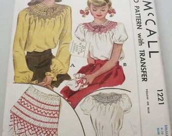 Girls Smocked Blouse Vintage McCall Pattern 1221 Size Small 8-10  Bust 26-28 Inches