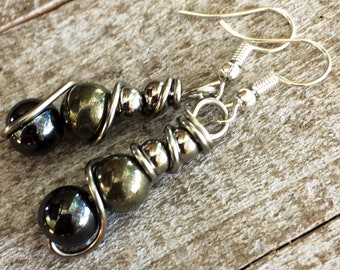Golden Pyrite and Hematite Earrings