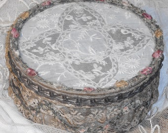 Antique~1900's Victorian French Silk Ribbon Work Swags ROSES~Metallic LACE & Trim~Embroidery~Vanity~Powder Box~JDL~Shabby Chic