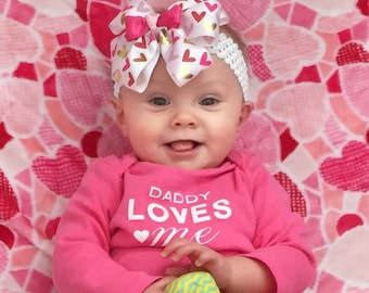 Love Bug Bow, Hearts (Hair Bow Attached by Band, Newborn-3 Yrs)