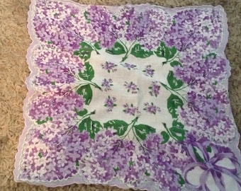 Vintage Scalloped Edged Floral Handkerchief