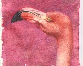 Flamant rose - aquarelle 10 x 15 cm avec pigments brillants, doré, iridescent .