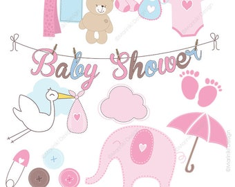 Baby Clipart, Baby Shower Clipart, Baby Gir Clip Art, Pink Baby Shower,