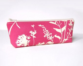 Makeup Bag, Cosmetic Case, Toiletry Storage, Zipper Pouch, Wildflowers in Pink, Joel Dewberry Ginseng