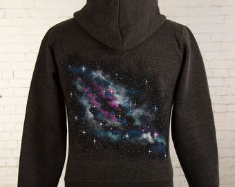 Nebula hoody space hoodie hand painted nebula with stars and space dust on back of grey hoody zip up hoodie universe galaxy nebula hoodie