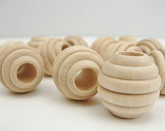 """Wooden beehive beads, 3/4"""" x 3/4"""" with a 5/16"""" hole"""