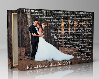 Wife canvas gift, special gift for wife, wedding photo print gift, wedding vows for wife, canvas print art, canvas print gift, custom photo