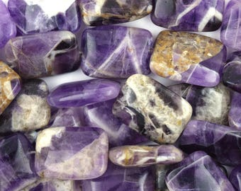 """20mm natural amethyst rectangle beads 15"""" strand 36879"""
