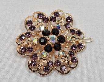Purple & Black Rhinestone Hair pin, Wedding bridal hair clip, Rhinestone Hair clip, wedding cake accessories, DIY Supply, Hair Accessories