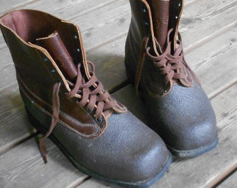 Now 20% off  1965 SWEDISH MILITARY BOOTS, leather, rubber, Tretorn, quality work boot, excellent condition