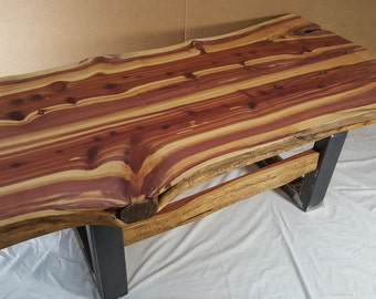Rustic Red Cedar Slab Live Edge Living Room Coffee Table and Steel Legs