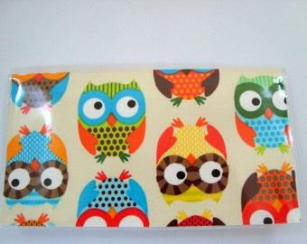 Checkbook Cover , Holder - Owls on Natural