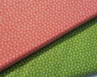 Dainty Daisy-Coral or Green Cotton Fabric