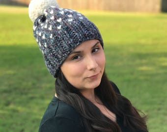 Adult Knit Beanie / Mini Heart Beanie / Cozy Corazon Beanie / Chunky Hat / Custom Colors / Pom Pom Beanie / Gifts for Her