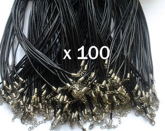 Lot 100 51cm with clasp and chain extension adjustable necklace black leather cord