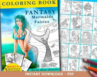 Printable Digital PDF - COLORING BOOK Fantasy Mermaids & Fairies coloring book Adult Coloring, instant download Coloring pages