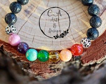 Seven Chakras Gemstone Bracelet, Yoga Aid Bracelet, Healing Bracelet, Reiki Prayer Gemstone Bracelet.