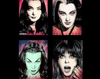 "Prints 11x17"" - Scream Queens - Morticia Addams Lily Munster Vampira Elvira Dark Art Horror Gothic Halloween Pop Art Vintage Lowbrow Art"