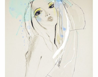 "Fashion ILLUSTRATION, GICLÉE print,fashion drawing,print, make up, blue, pale, chic, portrait, drawing, ""Blue"""