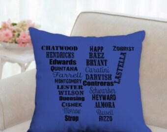 Chicago Cubs Baseball Roster Pillow