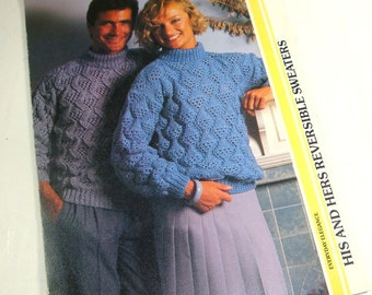 His and Hers Reversible Sweater Pattern, Knitting  (695-15)