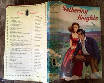 Wuthering Heights, Emily Bronte ,vintage classic book,1950s book ,Regent classics, Heathcliff ,victorian novels ,romantic book,romantic gift