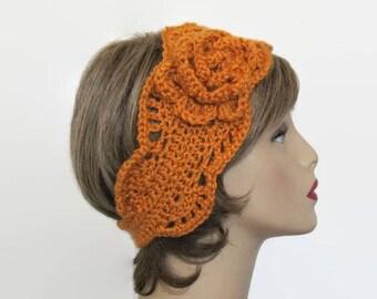 Mustard Headband with Flower Mustard Ear warmer Mustard Knit Earwarmer Gold Head Band Gold headband Pumpkin Earwarmer Pumpkin Headband
