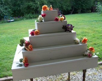 5 tier cupcake stand / white wedding /wedding reception / wedding decorations / cake stand / table centerpiece / wooden cupcake stand