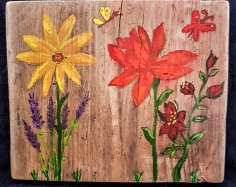 Floral Painting in Acrylics on Recycled Scaffold Board