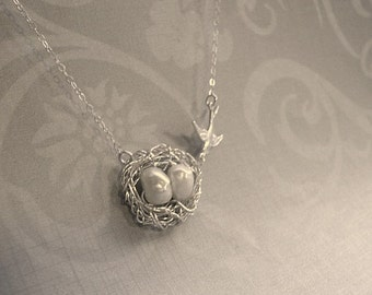 Bird Nest Necklace Silver Bird Nest Necklace Nest Necklace Birdnest Pendant Silver Nest Pearl Mama Bird Jewelry Mama Bird Nest