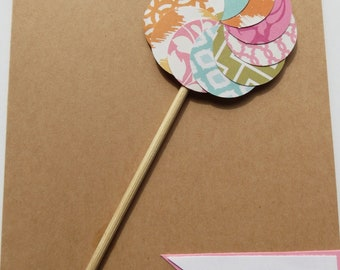 Girl Pinwheel Birthday Card--1 Card--The Vintage Touch--Birthday Cards for Girls