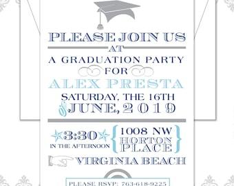 Modern Graduation Invitation, Grad Party, Graduation Announcement, 2018 Modern Graduation Party, Grad Hat and Tassel, Gender Neutral invite