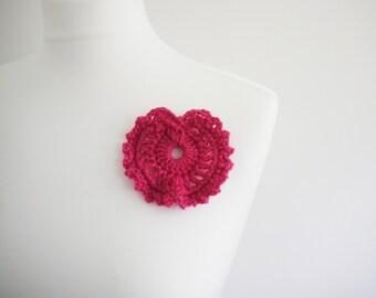 Large Crochet bright pink heart brooch