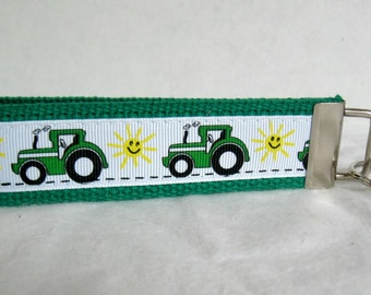 Green Tractor Key Fob - Farm Key Chain -  Large Tractor Keychain - Sunny Farm Key Holder
