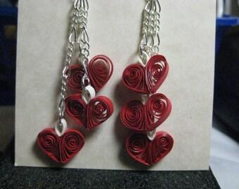 3 Heart Earrings - True Red