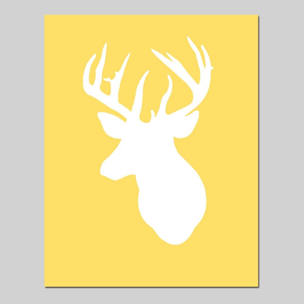 Deer Head Silhouette Wall Art Kids Wall Art Nursery Decor Baby