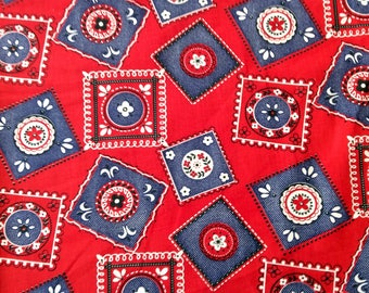 Red Bandana Fabric 5 Yards Cotton Red Blue Squares Circles Vintage Fabric