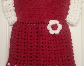 Handmade Crochet Baby Christmas Dress - Ready to Ship