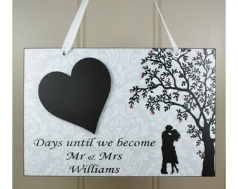 PERSONALISED Wedding Countdown Handmade Home Sign/Plaque With Chalkboard Heart - Mr and Mrs Engagement Gift 640