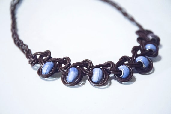 Leather and Glass Bead Necklace, Handmade.