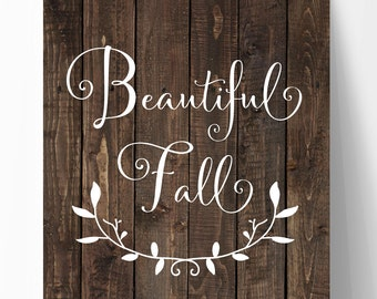 "Fall Printable, 8""x10"" Fall Print, Faux Wood, Fall Decor, Autumn Art, Thanksgiving Print, Downloadable Art, Autumn Wall Art, Fall Print,"