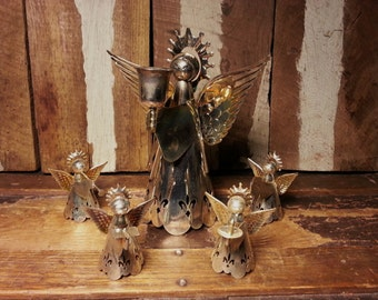 Set of 5 Vintage Metal Silver & Gold Tone Cutout Holiday Angels Decor 4 Small Figurines 1 Large Candle Holder