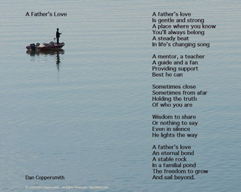 Fathers Day Poem, A Father's Love, Fathers Day Poetry, Father's Day Gift, Fishing Art Print For Dad, Digital Download