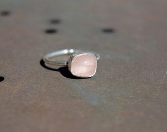 Rose Ring Stacking Ring Rose Quartz ring Gemstone Ring Silver Ring Birthday Gift Anniversary Jewelry Gift for Her Handmade Promise ring
