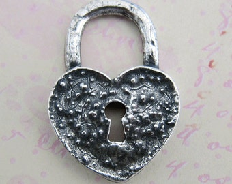 Large Silver Heart Lock Charm 3262