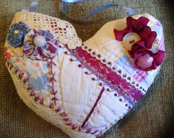 Small Vintage Burgundy Heart Crazy Quilt Pillow